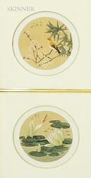 Pair of Framed Bird and Flower Paintings