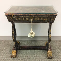 Gilt and Black-lacquered Sewing Table