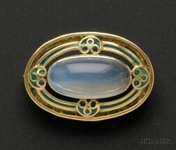 Art Nouveau Plique-a-jour Enamel and Moonstone Brooch, Tiffany & Co.