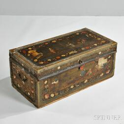 Brass-bound, Paint-decorated Leather and Camphorwood Box
