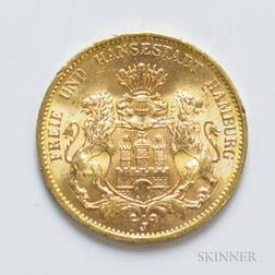 1913-J German 20 Mark Gold Coin, KM618