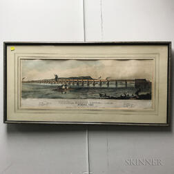 Framed Color Lithograph of Victoria Bridge, Montreal, Canada