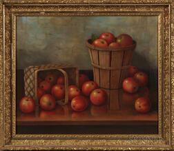 Albert Francis King (Pennsylvania, 1854-1945)      Still Life with Apples and Baskets