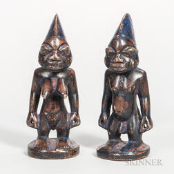 Pair of Yoruba-style Carved Wood Male and Female Dolls