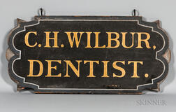"""Double-sided """"C.H. WILBUR DENTIST"""" Trade Sign"""