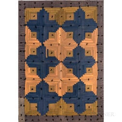 Blue, Salmon, and Beige Amish Log Cabin Quilt