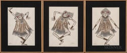 Three Paintings Depicting Tari Baris   Dancers