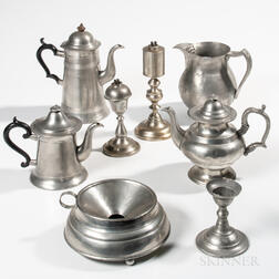 Eight American Pewter Household Items