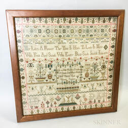 "Framed ""Mary Ann Houlden"" Needlework Sampler"