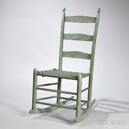 """Shaker Green-painted Production """"2"""" Rocking Chair"""