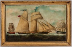 British School, 19th Century      Portrait of a British Schooner with a Frigate and Lightship