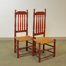 Pair of Red-painted Bannister-back Side Chairs