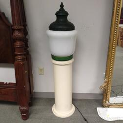 Green-painted Metal and Glass Floor Lamp