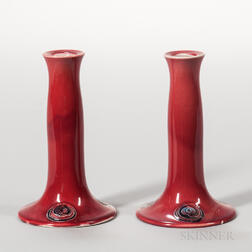 Pair of Moorcroft Pottery Flamminian Ware Candlesticks