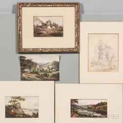 British School, 18th/19th Century, Five Works on Paper: Four Watercolor Landscapes: Shepherd and Flock on a Bluff, Two Figures on a Riv