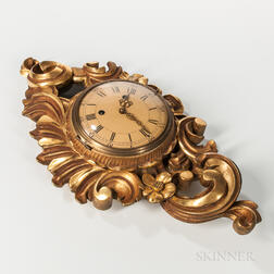 Rococo-style Giltwood Carved Cartel Clock
