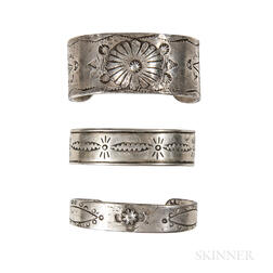 Three Navajo Silver Band Bracelets