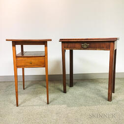 Georgian-style Mahogany Card Table and a One-drawer Stand.
