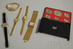 Five Wristwatches and a 1974 United States Proof Set
