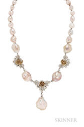 Pearl and Diamond Necklace and Bracelet, Wedderien