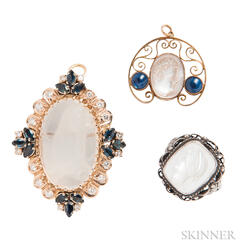 14kt Gold, Carved Moonstone, Diamond, and Sapphire Pendant/Brooch, a 14kt Gold Carved Pendant, and a Silver and Carved Moonstone Ring