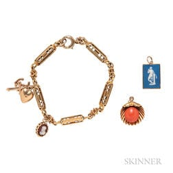 Gold Bracelet and Charms