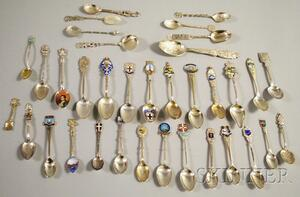 Large Group of Silver Souvenir Spoons