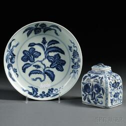 Two Blue and White Items