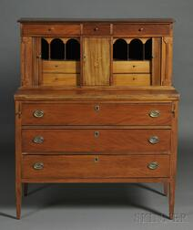 Federal Carved and Inlaid Cherry Tambour Desk