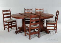 Gustav Stickley Dining Table and Five Chairs