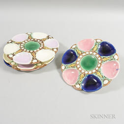 Two Pairs of Majolica Ceramic Oyster Plates