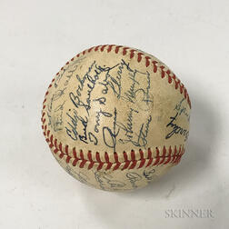 Late 1930s or Early 1940s New York Yankees Team Signed Baseball.     Estimate $300-500