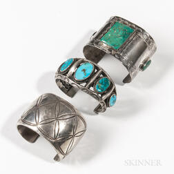 Three Navajo Silver and Turquoise Bracelets