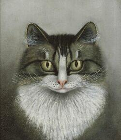 American School, 19th Century  Portrait of a Gray Tiger Cat