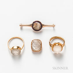 Two Gold and Carved Moonstone Rings, a Garnet and Moonstone Bar Brooch, and a Carved Moonstone Pendant