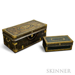 Two Chinese Export Brass-bound Leather and Camphorwood   Trunks