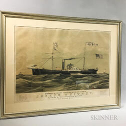 Framed Endicott & Co. Lithograph of the Steamship Joseph Whitney