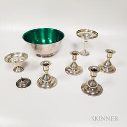 Seven Pieces of Weighted Sterling Silver and Silver-plated Tableware