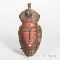 Baule-style Carved Wood Face Mask