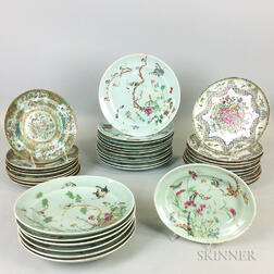 Thirty-seven Pieces of Celadon-glazed Rose Medallion and Famille Rose Porcelain Tableware.     Estimate $400-600