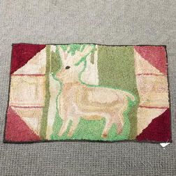 Pictorial Hooked Rug with a Deer