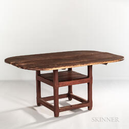 Large Red-painted Chair Table