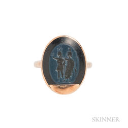 Gold and Roman Nicolo Intaglio Ring