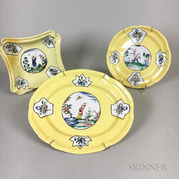 Three Pieces of Holitsch Faience Tableware