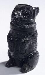 Sandwich Pressed Black Glass Bear Pomade Jar.