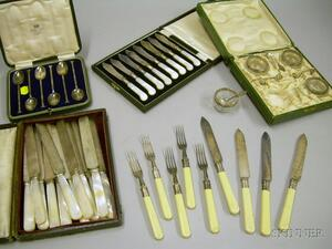 Group of Cased Sterling Silver and Silver Plated Flatware and Salt Cellars