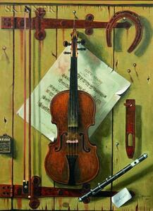 American School, 19th/20th Century    Trompe L'Oeil Still Life with Violin/A Work in the Manner of William Harnett