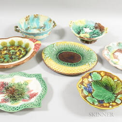 Seven Majolica Ceramic Bowls and Platters