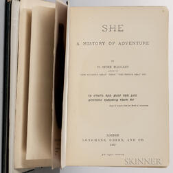 Haggard, H. Rider (1856-1925) She: a History of Adventure  , with Document Signed by Haggard.
