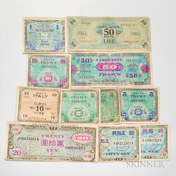 Group of American Stamps and Allied Military Currency Notes.     Estimate $40-60